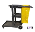 Janitor Cart with 25 Gallon Vinyl Bag