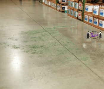Sweeping Compound Sprinkled Onto A Polished Concrete Floor.
