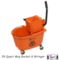 Mop Bucket with Side Press Wringer (Orange)