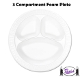 Foam Plates, 3 Compartment